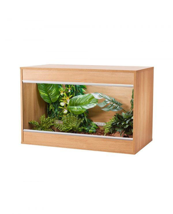 image of oak coloured wooden vivexoctic repti home vivarium in medium size
