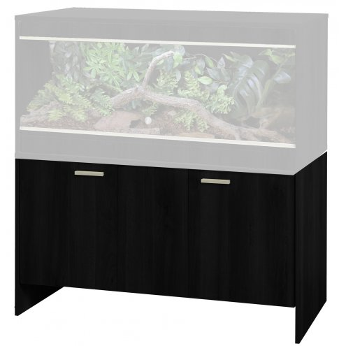 an image of the Vivexotic retihome AAL bearded dragon vivarium cabinet in black with the vivarium greyed out