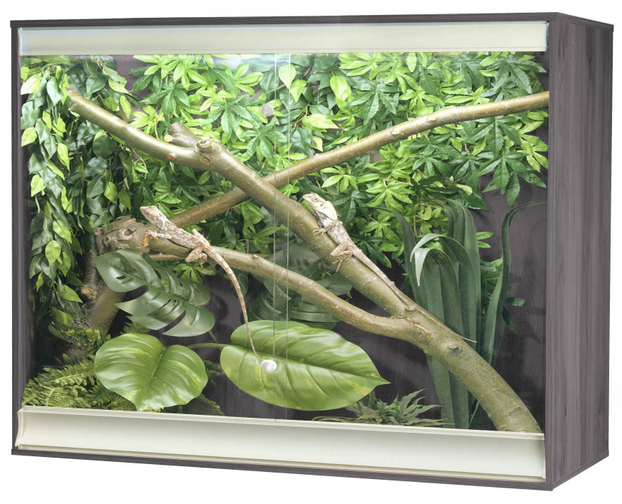 an image of a grey VivExotic Viva+ Large Deep Arboreal Wooden Vivarium